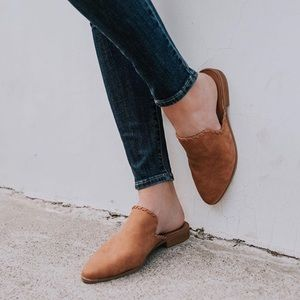 Shoes - Faux Leather Mules, Tan Slip On Flats Braided Trim